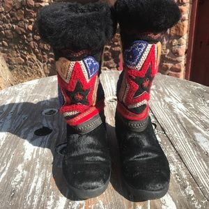 Tecnica Black hair & Embroidered Boots Size 7-7.5